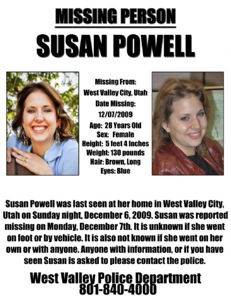 Here is a missing persons flier released today by Susan Powell's friends and family