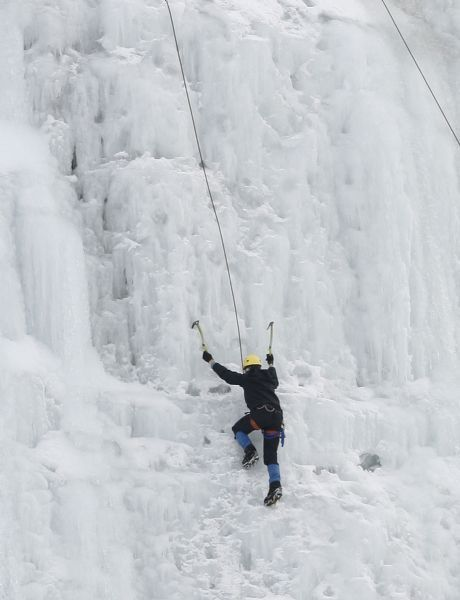 ICE CLIMBING  Ice climbers scale the ice wall just west of Bridal Veil Falls in Provo Canyon, Monday 12/21/09.