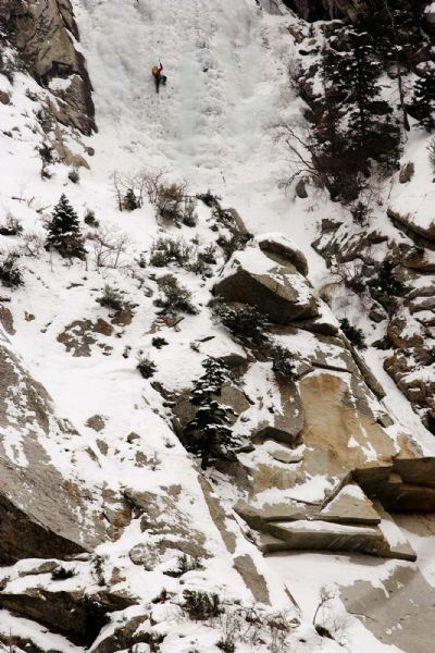 ice climbing at the Great White Icicle in Little Cottonwood Canyon, Tuesday, December 29, 2009.