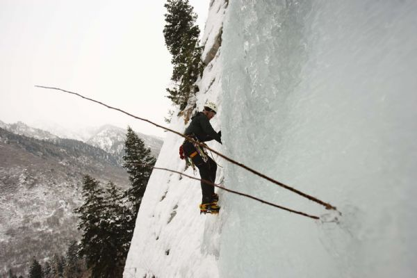 Steve Robitshek ice climbing at the Great White Icicle in Little Cottonwood Canyon, Tuesday, December 29, 2009. Robitshek says,