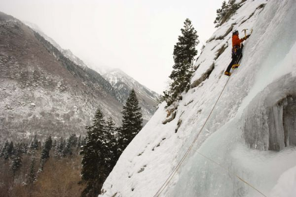 Jay Williams ice climbing at the Great White Icicle in Little Cottonwood Canyon, Tuesday, December 29, 2009.