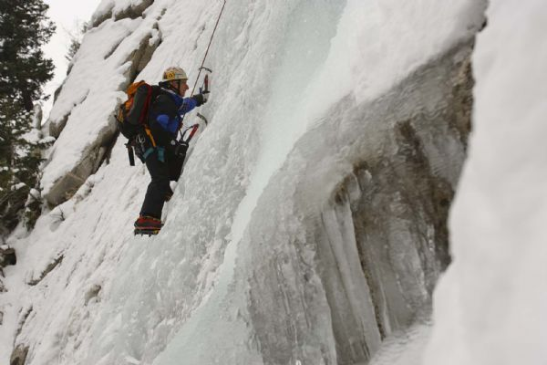 Mark Beecher ice climbing at the Great White Icicle in Little Cottonwood Canyon, Tuesday, December 29, 2009.