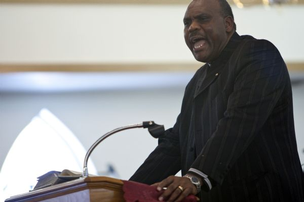 Pastor Charles Petty preaches during the Sunday morning worship service at the Second Baptist Church in Ogden Sunday January 10, 2010.