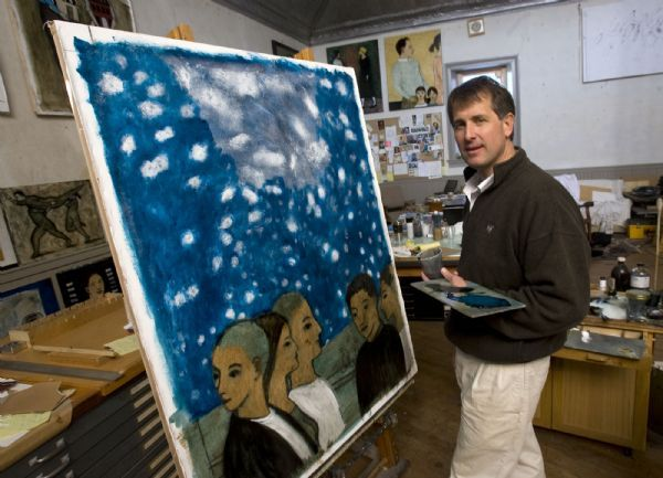 Al Hartmann  |  The Salt Lake Tribune  1/20/2110 Brian Kershisnik was an up-and-coming talent when he was an art student at BYU. Now many consider him a full-fledged mature talent, and one of the state's best painters. His work has already been the subject of one book, a video film in progress, and his painting has earned an ever-increasing circle of admirers, especially among LDS Church members.  Here he works in his Kanosh studio which was an brick dance hall on a painting  titled