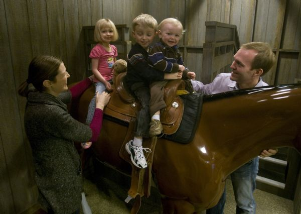 Becker aide Ben McAdams spends some time with his wife Julie and thier kids,   Kate, James and Robert, at the Discovery Gateway, Wednesday, January 13, 2010