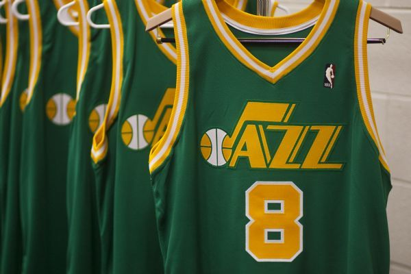 The Utah Jazz throwback jerseys photographed in the EnergySolutions Arena  Wednesday December 2 5b8402a79
