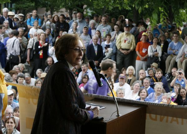The Right Rev. Carolyn Tanner Irish, the bishop of the Episcopal Diocese of Utah, speaks to a Gallivan Center Plaza rally to support immigrant families.