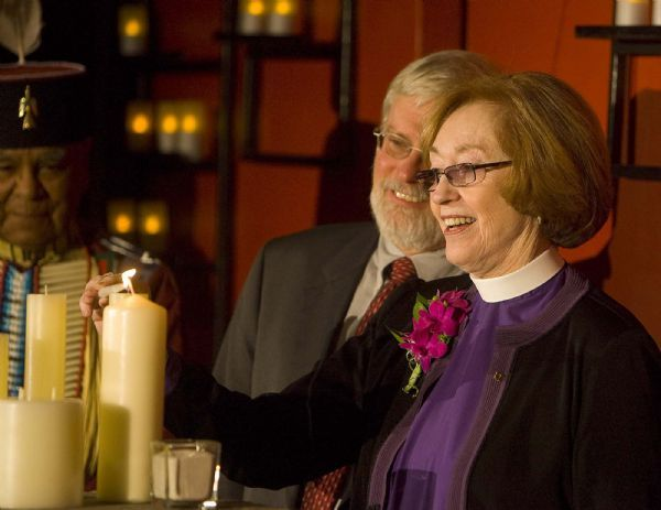 Rev. Carolyn Tanner Irish joins other dignitaries in June at the opening of  the Carolyn Tanner Irish Humanities Building on the University of Utah campus, lighting candles symbolizing how the humanities illuminate  the world.