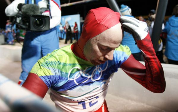 Zach Lund, USA, at the end of his final fun. Lund placed fifth in the Men's Skeleton, at the XXI Olympic Winter Games in Whistler, Friday, February 19, 2010.