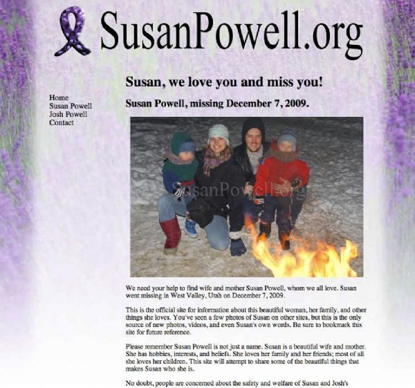 The home page of SusanPowell.org, a new site made by supporters of the missing woman's husband, Joshua.