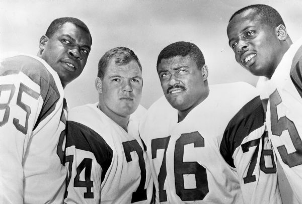 This 1964 photo shows the Los Angeles Rams defensive front four, known as the