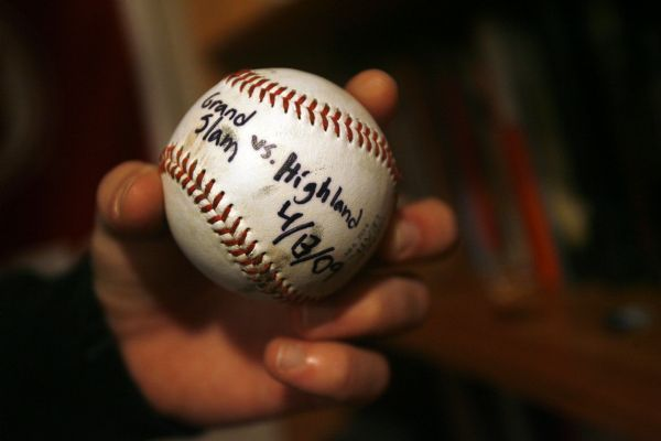Salt Lake City - Baseball-playing violin prodigy, Will Hagen shows off his favorite home run ball which he hit against Highland in a Grand Slam in April of 2009.  Hagen, 17, who is still in high school is already on his way to a (major) music career. The young talent is so dedicated that he flies to L.A. every week to work with a violin teacher. Even as a child, he says he could just