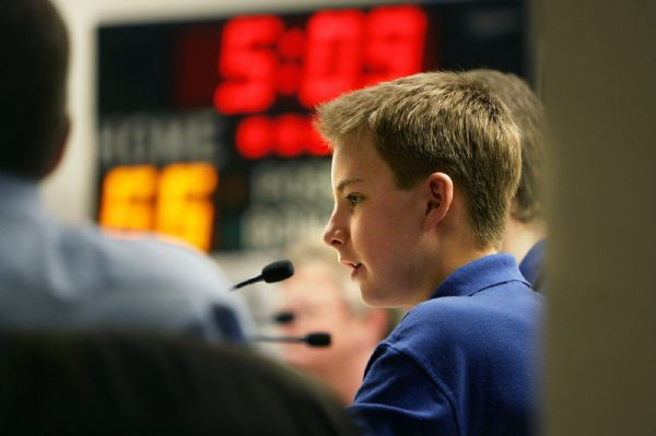 ACADEMIC GAMES  Wasatch Jr. team captain Jack Schunk answers a question during Wasatch Jr.'s 100-80 win over Brockbank 100-80 Thursday, 3/18/2010. Magna's Brockbank Junior High battled Salt Lake City's Wasatch Junior High for the Academic Games district title.