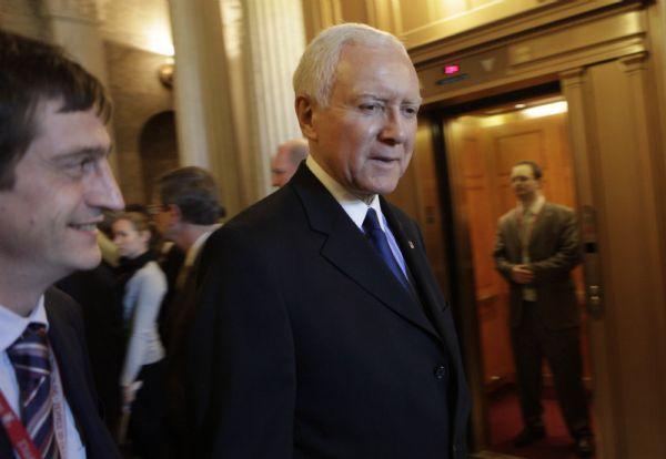 Sen. Orrin Hatch, R-Utah walks past members of the media on Capitol Hill in Washington, Tuesday,Dec. 1, 2009. (AP Photo/Pablo Martinez Monsivais)