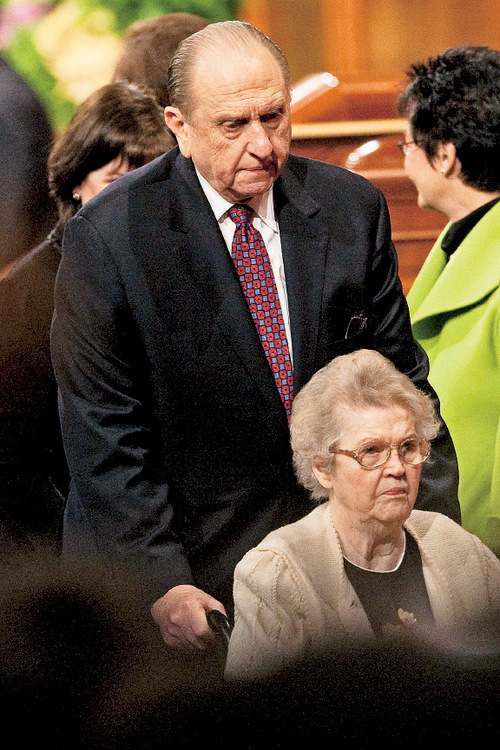LDS President Thomas S. Monson and his wife Frances during the morning session of the 180th Semiannual General Conference of The Church of Jesus Christ of Latter-day Saints Saturday, April 3, 2010.