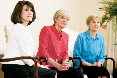 Jim Urquhart  |  The Salt Lake TribuneFrom left, Sister Jean A. Stevens, Sister Rosemary M. Wixom, and Sister Cheryl A Esplin talk about being appointed Saturday to the new primary gereral presidency. Wixom was named general president while Stevens will serve as first counselor and Esplin as second counselor.