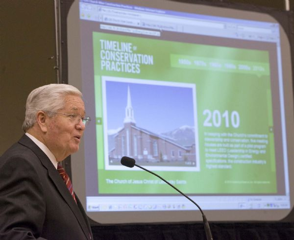 Paul Fraughton     The Salt Lake Tribune  At a news briefing at a newly constructed stake house in Farmington Utah that qualifies as a LEED-certified building, LDS Bishop H. David Burton talks Tuesday about the LDS Church's commitment to green building practices.