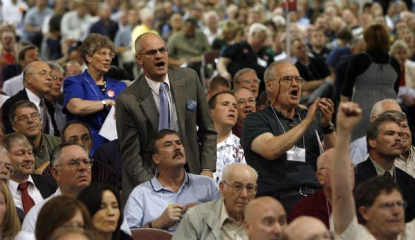 Steve Griffin  |  The Salt Lake Tribune Delegates cheer when the second round voting results are announced Saturday in the Senate race during the Utah Republican convention at the Calvin L. Rampkin Salt Palace and Convention Center in Salt Lake City. Bob Bennet, Utah's three-term Senator, was eliminated during the vote.