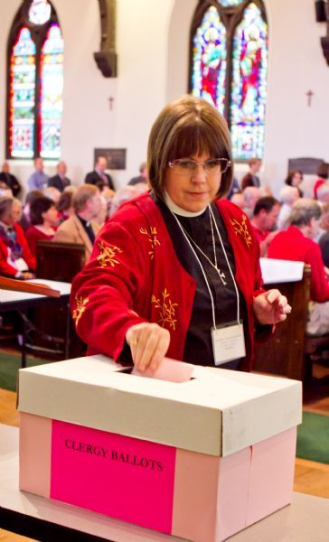 Thomas Nelson | The Salt Lake Tribune  A clergy delegate casts her ballot for the new Bishop of the Salt Lake Diocese at St. Mark's Episcopal Cathedral on Saturday, May 22, 2010.