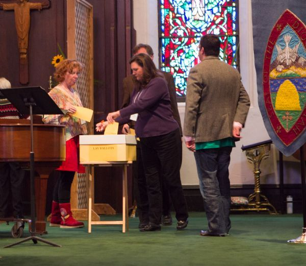 Thomas Nelson | The Salt Lake Tribune  Lay delegates their ballots for the new Bishop of the Salt Lake Diocese at St. Mark's Episcopal Cathedral on Saturday, May 22, 2010.