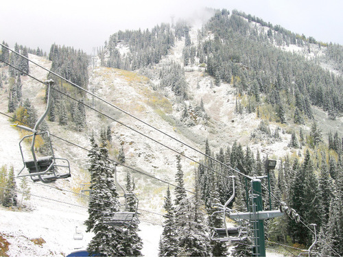 Snow blankets the hillside and a chairlift at Snowbird Ski and Summer Resort, which received 4 inches at the base and 8 inches atop Hidden Peak on Monday. Photo credits should go to Matt Crawley/Snowbird Ski & Summer Resort.