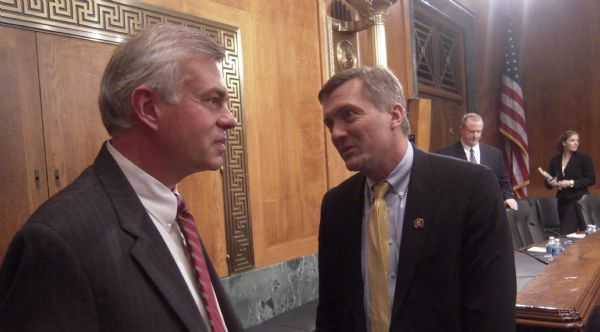 Scott Matheson Jr. talks with his brother, Rep. Jim Matheson, D-Utah, during a past hearing of the Senate Judiciary Committee. Matheson faced the panel over his nomination to the 10th Circuit Court of Appeals.  THOMAS BURR | The Salt Lake Tribune