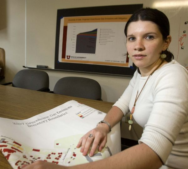 Sofia Melo,  a University of Utah graduate student, who  performed an inventory of the university's carbon footprint .  Thursday, June 10,2010  photo:Paul Fraughton/ The Salt Lake Tribune