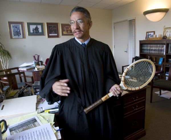 Juvenile court Judge Andrew Valdez discusses a tennis tournament he set up with inmates at San Quentin Prison in this photo from 2008. Valdez defended Ronnie Lee Gardner in a capital murder case.  Al Hartmann/Salt Lake Tribune