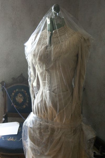 Chris Detrick | The Salt Lake TribuneA wedding dress made from home made silk by Elizabeth Whitaker photographed Tuesday, June 29, 2010.  The Whitaker home was built between 1861-1864.