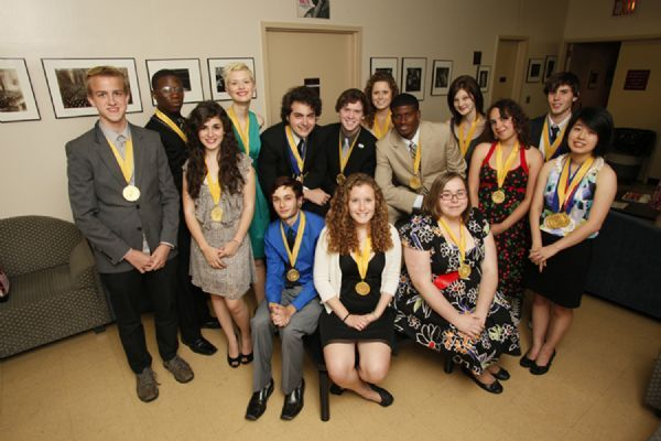 Courtesy ScholastiProvo's Mackenzie Jacoby, back row, middle, joins her fellow Gold Portfolio Medalists backstage at the Scholastic Art & Writing Awards. Seven hundred award-winning students, their families and teachers took part in the Awards ceremony at Carnegie Hall.