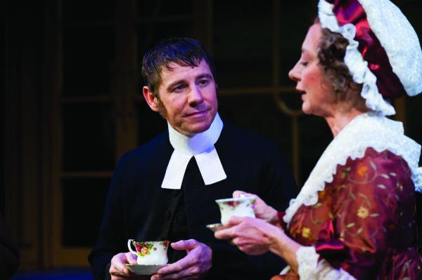 Karl Hugh   Utah Shakespearean Festival Brian Vaughn as Mr. Collins with Ellen Crawford as Mrs. Bennett in USF's adaptation of