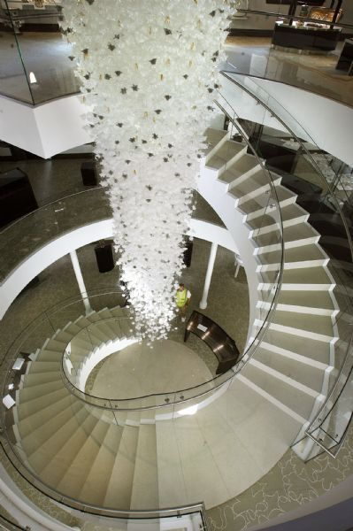 The spiral staircase inside the new O.C. Tanner building.  A $25 million restoration of the old Salt Lake City library, which will serve as headquarters for retail jeweler O.C. Tanner Co., is nearly complete.