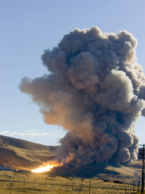 Al Hartmann  |  Salt Lake Tribune The static test fire of the first stage of an Ares 1 rocket at ATK west of Brigham City went off on time without a hitch on Tuesday, Aug. 31, at 9:27 a.m.
