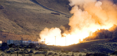 Al Hartmann  |  Salt Lake TribuneThe static test fire of the first stage of an Ares 1 rocket at ATK west of Brigham City went off on time without a hitch on Tuesday, Aug. 31, at 9:27 a.m.
