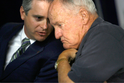 Francisco Kjolseth  |  The Salt Lake TribuneWest Coast Conference Commissioner Jamie Zaninovich, left, speaks with former BYU football coach LaVell Edwards as BYU holds a press conference at LaVell Edwards Stadium in Provo on Wed. Sept. 1, 2010, to discuss their move to football independence in 2011 and the shift of most of their other sports to the West Coast Conference. In addition the program signed an 8-year pact with ESPN to televise Cougar football on the sports leader's family of networks and will also partner with BYUtv.Provo, Aug. 30, 2010.