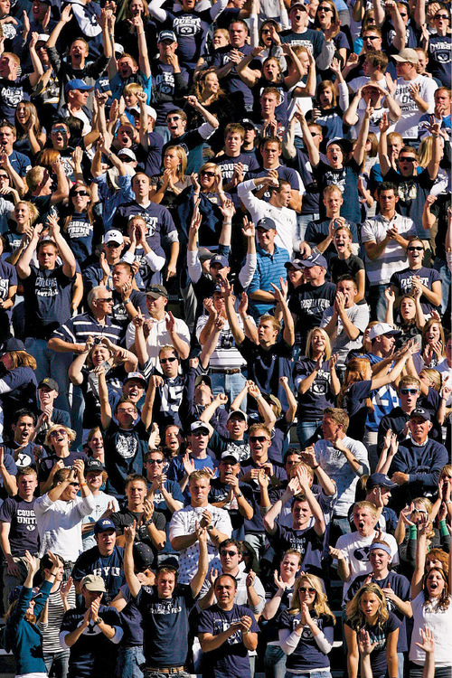 Fans cheer after BYU made a two-point conversion for the final score against UNLV, Saturday at LaVell Edwards Stadium. Trent Nelson/The Salt Lake Tribune