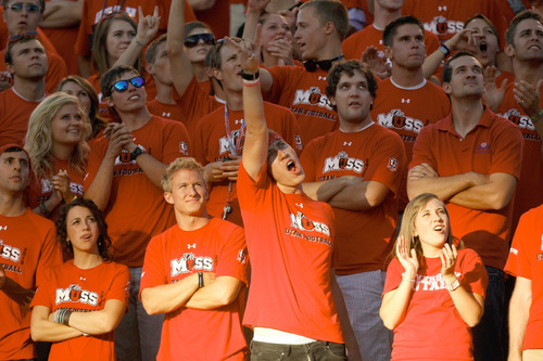 Photo by Chris Detrick  |  The Salt Lake Tribune Utah fans during the first half of the game at Rice-Eccles Stadium Thursday September 2, 2010.
