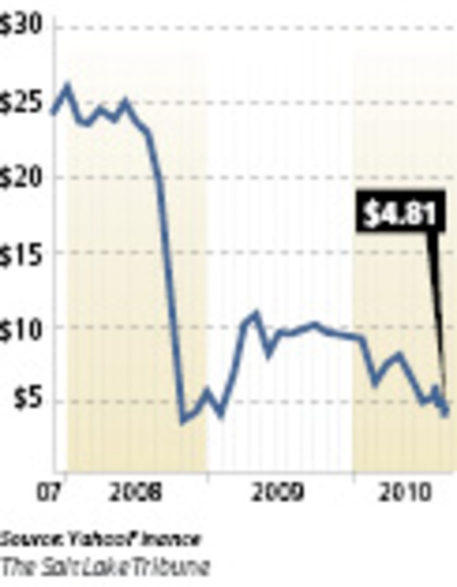 EnergySolutions stock rollercoasterThe Salt Lake City nuclear services company sold its initial public offering for $23 a share in November 2007 and a secondary offering for $19 a share in July 2008. Recently ES has been trading close to its 52-week low of $4.35.