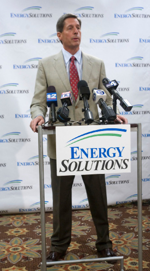 AL HARTMANN    Tribune File PhotoEnergySolutions President and CEO Val Christensen and other company officials say the will mount a vigorous defense against lawsuit brought by shareholders and a competitor. Christensen is pictured here at the company's announcement in July that it will not accept low-level waste imported from abroad.