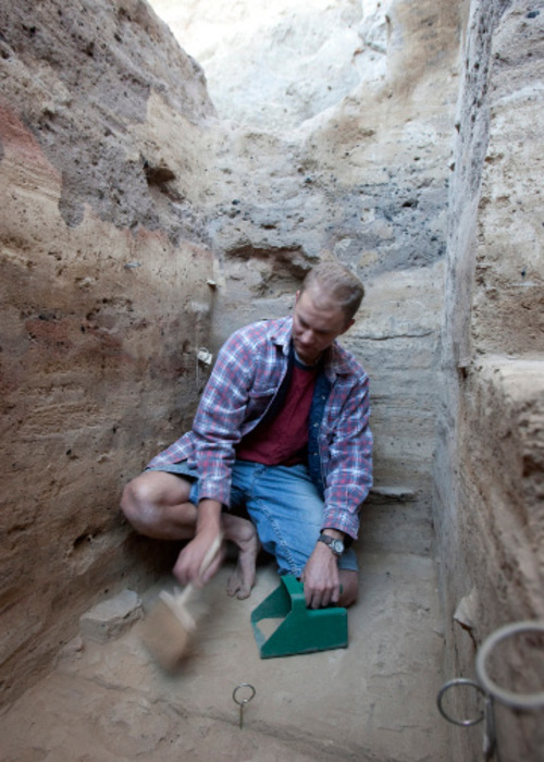 BYU graduate student Brad Newbold works in the North Creek Shelter Excavation in Escalante Valley in 2006. Courtesy of BYU
