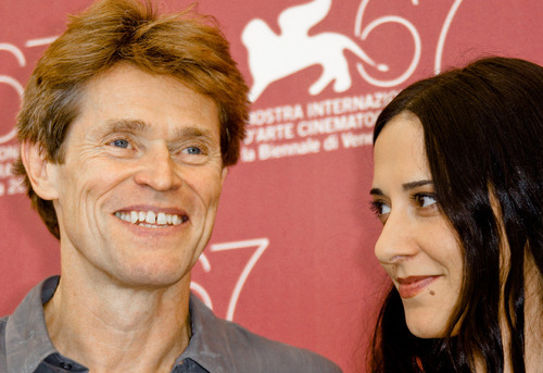 Actor Willem Dafoe, left, and director Giada Colagrande poes during a photo call for the film A Woman at the 67th edition of the Venice Film Festival in Venice, Italy, Saturday, Sept. 4, 2010. (AP Photo/Joel Ryan)