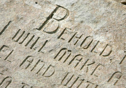 Scott Sommerdorf  l  The Salt Lake Tribune  A detail from one of the many religious inscriptions made by artist Thomas B. Child at Gilgal Garden. The Gilgal Sculpture Garden is celebrating its 10th anniversary as a Salt Lake City public park.