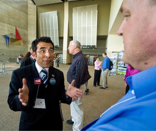 Delegate Marco Diaz converses during the Salt Lake County GOP convention Saturday, April 24, 2010, in Sandy, Utah. (© 2010 Douglas C. Pizac/Special to the Tribune)