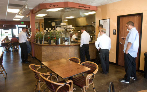 Paul Fraughton  |  The Salt Lake TribuneLunch patrons line up at the order counter at My Thai in Salt Lake City.