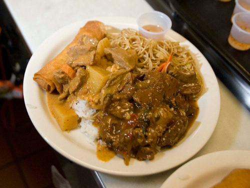 Paul Fraughton  |  The Salt Lake TribuneA lunch special  including spicy beef and basil with stir-fried egg noodles, beef massaman curry  and a fried spring roll at My Thai in Salt Lake City.