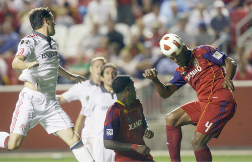 Steve Griffin  |  The Salt Lake Tribune Real Salt Lake defender Jamison Olave gets into the box and flicks a header into the net for the second Real Salt Lake goal of the first half in their game against Toronto FC soccer game at Rio Tinto Stadium in Sandy Wednesday, September 15, 2010.