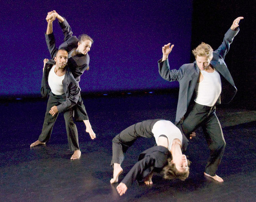 Paul Fraughton  |  The Salt Lake Tribune   Ririe Woodbury dancers, Jo Blake with Barbara Powers and Caine Keenan with Tara McArthur, rehearse