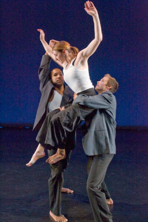 Paul Fraughton  |  The Salt Lake Tribune  Ririe Woodbury dancers Jo Blake, Elizabeth Kelley and Caine Keenan, rehearse