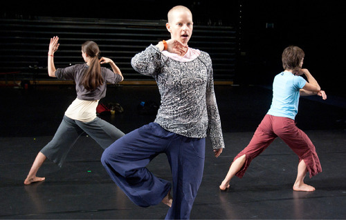 (Jim Urquhart // for In This Week) Choreographer Leah Cox directs dancers during Ririe-Woodbury's rehearsals at the Rose Wagner Performing Arts Center.