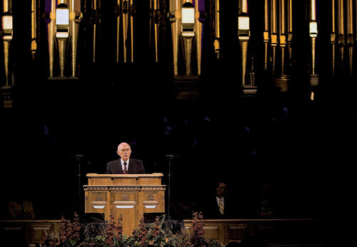 Djamila Grossman  |  The Salt Lake TribuneElder Dallin H. Oaks of the Quorum of the Twelve Apostles of the Church of Jesus Christ of Latter-day Saints, gives a speech on the Constitution at the Tabernacle on Temple Square in Salt Lake City, September 17, 2010.